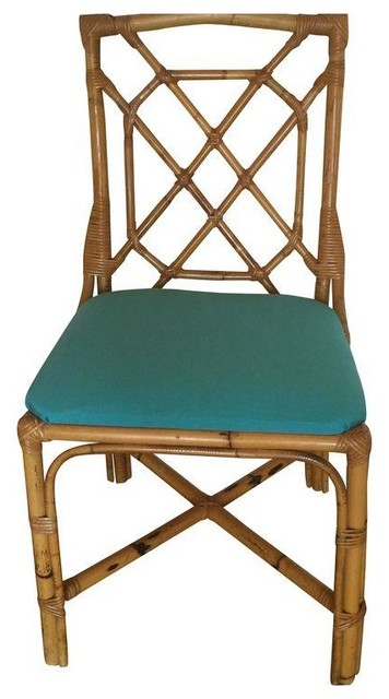 Reupholstered rattan chairs set of 4 modern dining for Modern wicker dining chairs