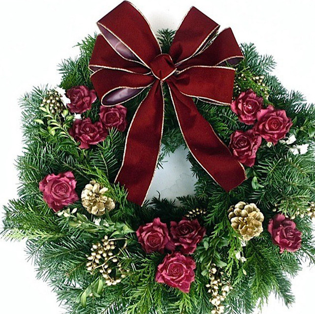 Burgundy rose and gold fresh evergreen wreath quot dia