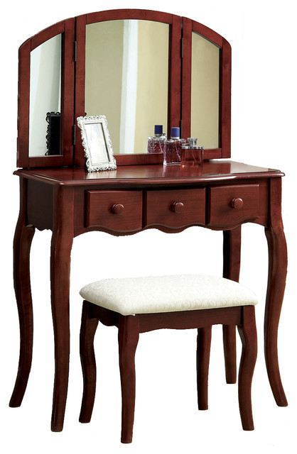 tri folding mirror 3pc wood make up table padded bench