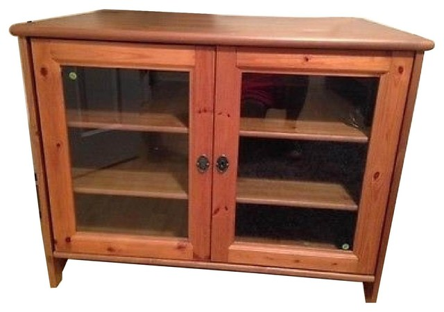 Ikea Leksvik Solid Pine TV Cabinet With Glass Doors - Entertainment Centers And Tv Stands - New ...