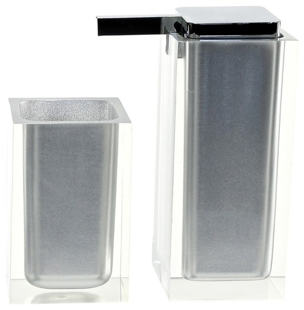 Silver two pc accessory set made with thermoplastic for Silver bath accessories set