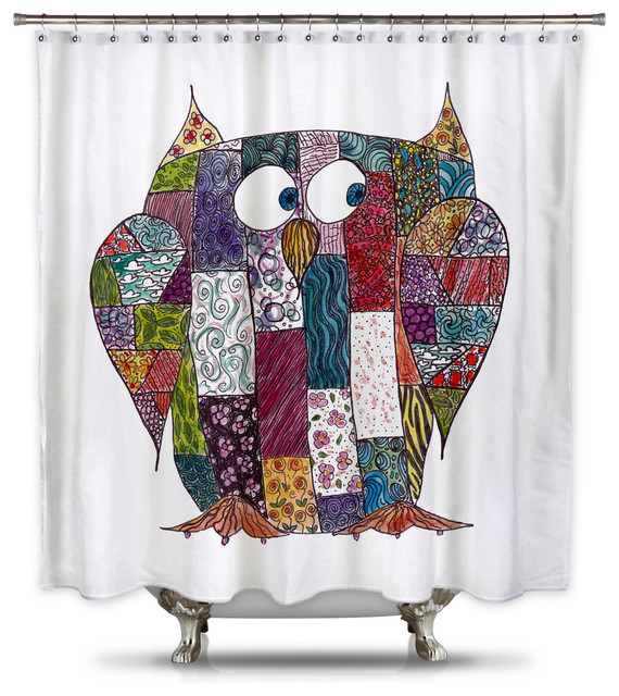 Catherine Holcombe Log Cabin Owl Fabric Shower Curtain