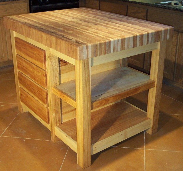 Butcher Block Kitchen Carts And Islands : Pecan Butcher Block Center Island - Traditional - Kitchen Islands And Kitchen Carts - austin ...