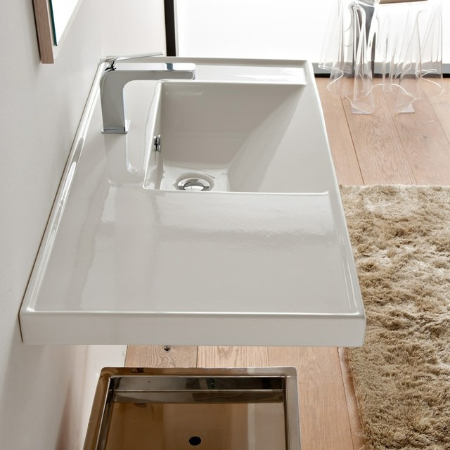 Large White Sink : Large Rectangular White Ceramic Self Rimming or Wall Mounted Sink ...