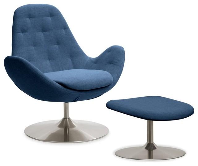 loungesessel houston ii blau niedrig mit hocker moderne. Black Bedroom Furniture Sets. Home Design Ideas