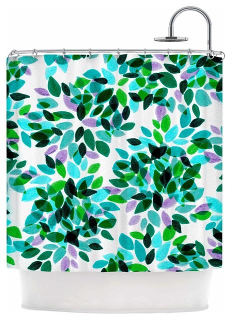 Ebi Emporium Dahlia Dots 7 Teal Green Shower Curtain Contemporary Shower Curtains By