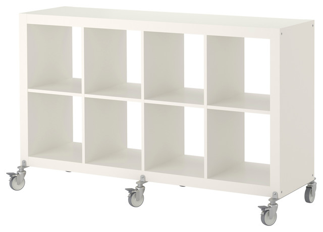 Expedit shelving unit on casters white modern display - Modern white shelving unit ...
