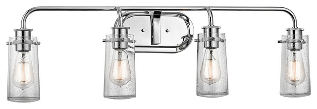 Rustic Chrome Vanity Lights : Braelyn 4-Light Bathroom Vanity Light, Chrome - Rustic - Bathroom Vanity Lighting - by Lighting ...