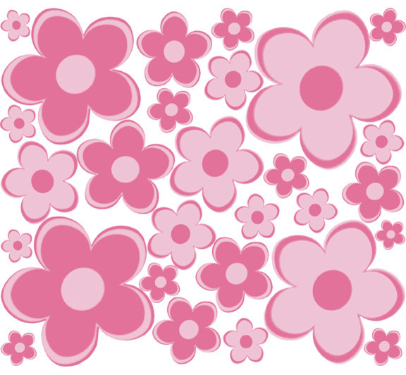 Pink flower wall decals elitflat small pink flowers wall stickers modern wall decals mightylinksfo