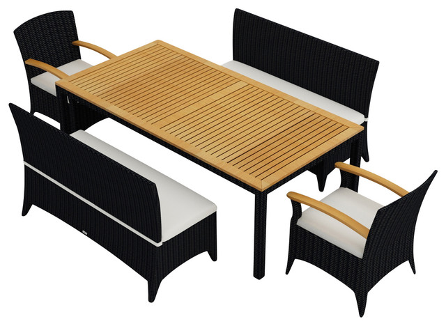 Arbor 5 piece patio bench dining set contemporary outdoor dining sets by patioproductions - Arbor bench plans set ...