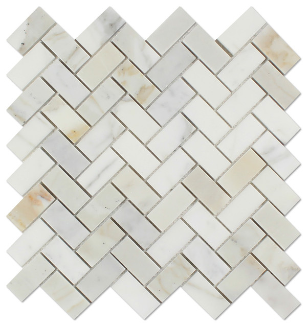 "Calacatta Gold Italian Calcutta Marble Honed Herringbone 1""x2"" Mosaic Tile - Traditional ..."