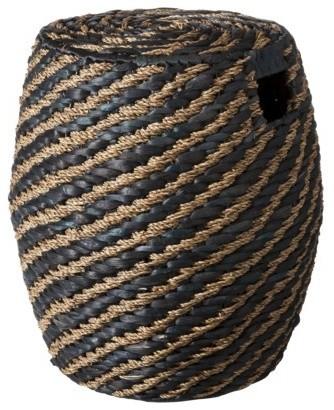 black wicker ottoman 1