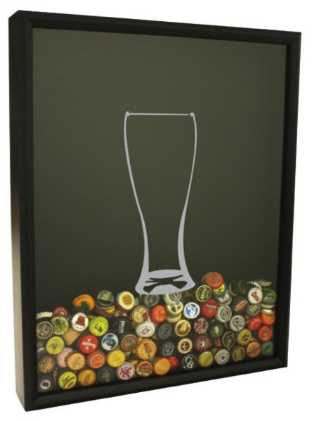 Beer Cap Shadow Box contemporary-game-room-wall-art-and-