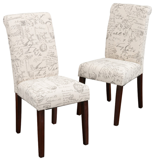 Script Printed Linen Dining Chairs, Set Of 2 Transitional