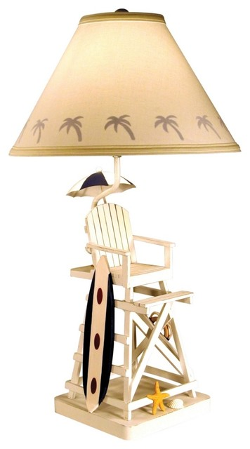 lifeguard chair and surfboard table lamp tropical table lamps. Black Bedroom Furniture Sets. Home Design Ideas