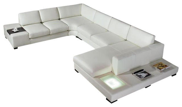 Divani Casa T35 - Modern Leather Sectional Sofa with Light ...