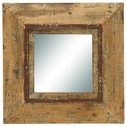 Looking glass style mirror with old look square frame for Looking for wall mirrors