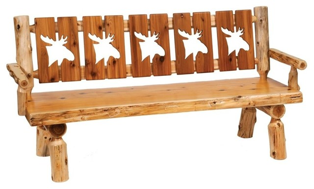 Cedar 72 In Cut Out Log Bench W Back Armre Traditional Indoor Benches By Shopladder