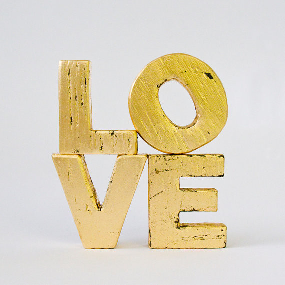 39love39 primitive gold leaf wood letters by edie39s lab for Gold wall decor letters