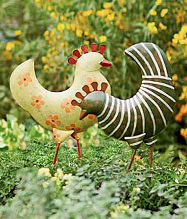 Funky chickens eclectic outdoor decor by gardener 39 s for Funky garden accessories