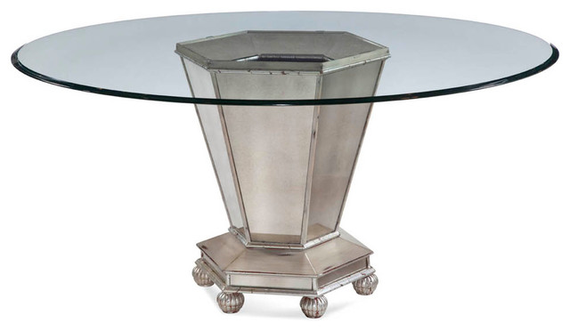 bassett mirror reflections round mirrored dining table in