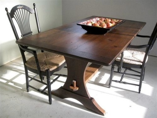 Half Moon Style Trestle Base Dining Table Farmhouse