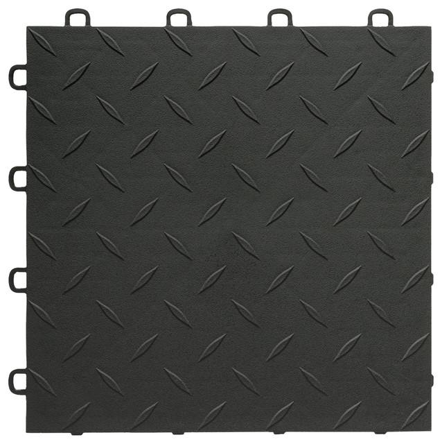 Interlocking Vinyl Floor Tiles Bathroom: BlockTile Interlocking Garage Flooring Tiles, Diamond Top