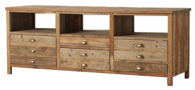 Elegant reclaimed wood media console eclectic tv for Reclaimed wood new york
