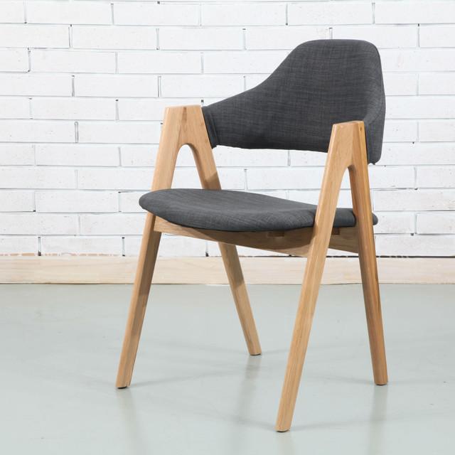 nestor solid oak dining chair dark grey fabric modern