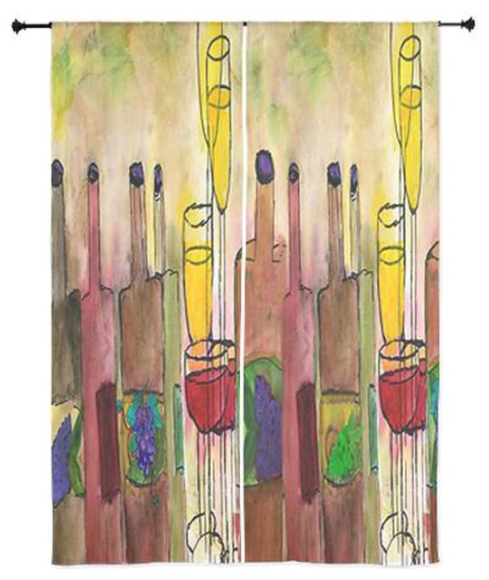 Wine art sheer curtains tuscany wine contemporary curtains for Painting sheer curtains