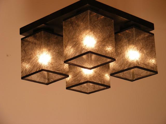 Basari Ceiling Lights Wenge Brown Wood Four Dark Fabric