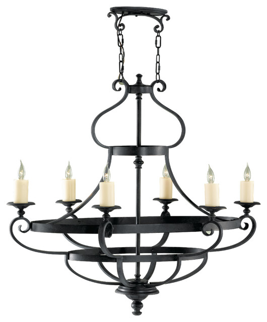 Murray Feiss Foyer Lighting: Murray Feiss F2277/6AF King's Table 6 Bulb Antique Forged