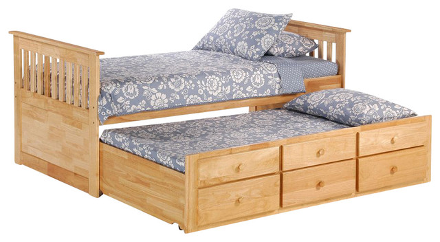 Night and day ginger captains bed w drawers and trundle in for Kids twin bed with drawers
