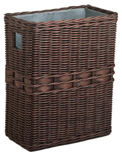 Large wicker waste basket with metal liner antique walnut brown wastebaskets by the basket lady - Wicker trash basket ...