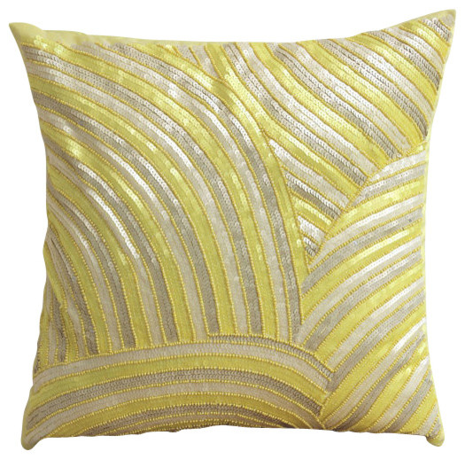 Yellow Silk Decorative Pillows : Yellow Art Silk Sequins & Beaded Pillows Cover, Pearly Yellow - Contemporary - Decorative ...