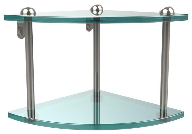 Double Corner Glass Shelf Polished Nickel Contemporary Bathroom Cabinets