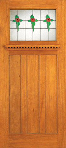 Stained glass mahogany craftsman style doors for arts and for Arts and crafts style front door