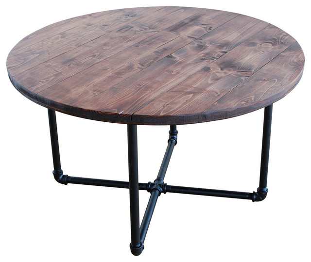 Round Industrial Coffee Table With Pipe Legs Red Oak Industrial Coffee Tables