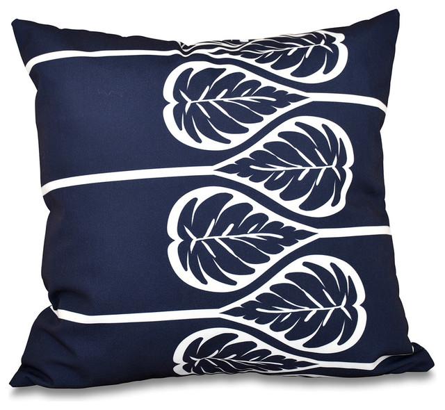 """Fern 2 Floral Outdoor Pillow Navy Blue 20""""x20"""