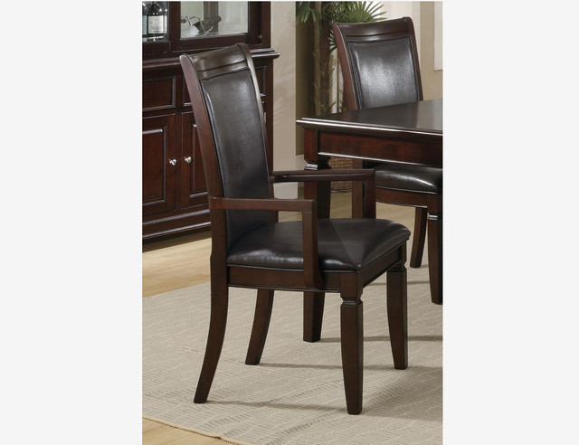 2 pc walnut wood dining arm chairs leather seat coaster 101633 for Wood dining chairs with leather seats
