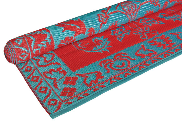 brocade duo tone floor mat red turquoise eclectic outdoor rugs newark by rhadi living. Black Bedroom Furniture Sets. Home Design Ideas