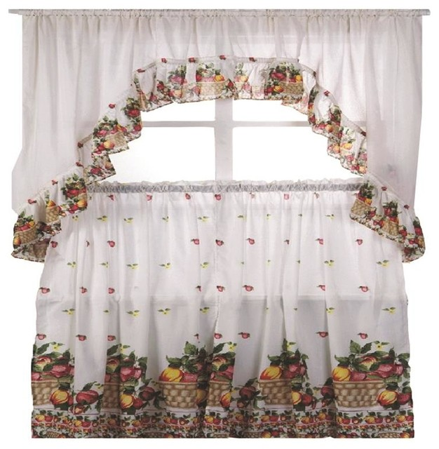 fruit basket printed kitchen curtain swag set farmhouse curtains by closeoutlinen. Black Bedroom Furniture Sets. Home Design Ideas