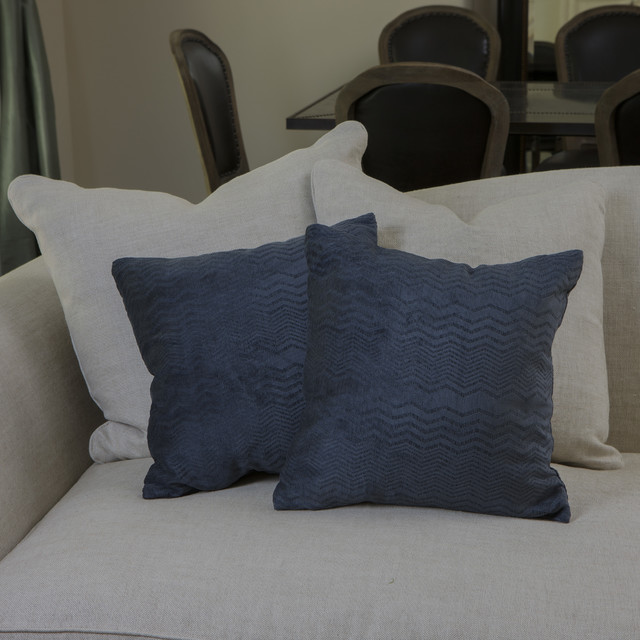 Dark Blue Throw Pillow : Dark Blue Jacquard Pillows (Set of 2) - Contemporary - Decorative Pillows - by Overstock.com