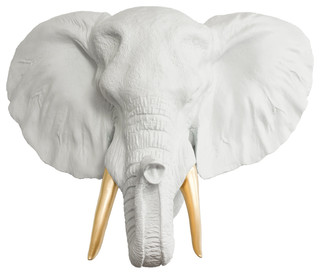 Faux Mounted Elephant Head, White and Gold, Standard, Wall Charmers Elephant