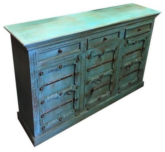 Aqua Indian Door Cabinet - Storage Cabinets