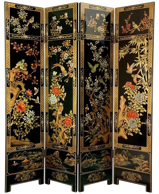 6 ft Tall Four Seasons Flowers Screen Traditional
