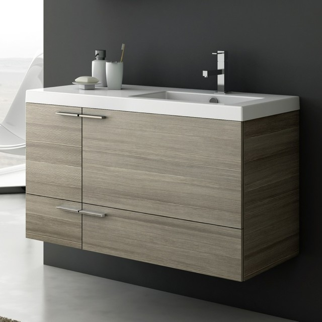 39 Inch Vanity Cabinet With Fitted Sink Contemporary Bathroom Vanities An