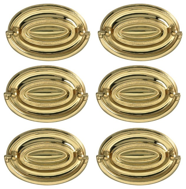 Hepplewhite Drawer Pulls Polished Solid Brass 3 1/2 W 6 Pcs - Traditional - Cabinet And Drawer ...