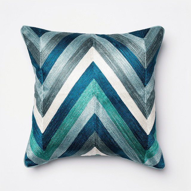 Traditional Throw Pillows : Coastal Chevron Embroidered Throw Pillow traditional-decorative-pillows