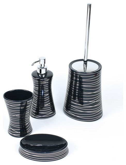 Diva anthracite silver decorative bathroom accessory set for Silver bathroom set